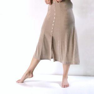 Vintage Tan Buttoned Midi Skirt